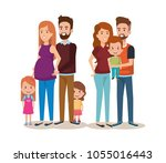 cute family happy characters | Shutterstock .eps vector #1055016443