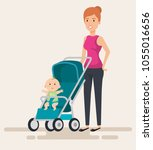mom with little baby in cart... | Shutterstock .eps vector #1055016656