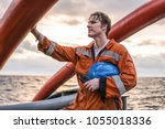 deck officer on deck of... | Shutterstock . vector #1055018336