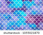 mermaid scales. watercolor fish ... | Shutterstock .eps vector #1055021870