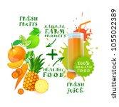 fresh fruits healthy juice... | Shutterstock .eps vector #1055022389