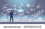 back rear view of businessman...   Shutterstock .eps vector #1055024123