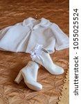beautiful white wedding fur... | Shutterstock . vector #1055025524