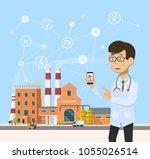 smart industrial 4.0 . industry ... | Shutterstock .eps vector #1055026514