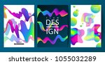 set of cover design with... | Shutterstock .eps vector #1055032289
