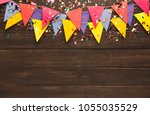 border of colorful paper flags... | Shutterstock . vector #1055035529