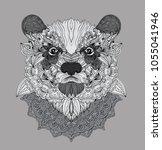hand drawn doodle bear portrait ... | Shutterstock . vector #1055041946