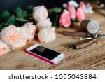 top view of buds of roses ... | Shutterstock . vector #1055043884