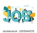 flat vector illustration  job... | Shutterstock .eps vector #1055044370