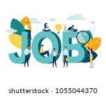 flat vector illustration  job... | Shutterstock .eps vector #1055044370