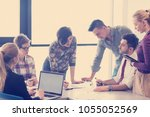 startup business  young... | Shutterstock . vector #1055052569