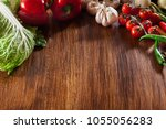 fresh vegetable borders on... | Shutterstock . vector #1055056283