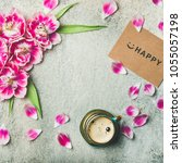 spring morning concept. flat...   Shutterstock . vector #1055057198