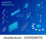 isometric set of infographics... | Shutterstock .eps vector #1055058470