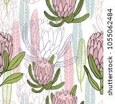 hand drawn flowers protea. ... | Shutterstock .eps vector #1055062484