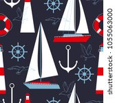 sea vector seamless pattern... | Shutterstock .eps vector #1055063000