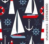 sea vector seamless pattern... | Shutterstock .eps vector #1055063000