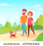 happy young family   wife and... | Shutterstock .eps vector #1055063366