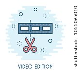 video edition flat icon  | Shutterstock .eps vector #1055065010