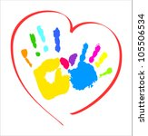 mother's and kid's hands in a... | Shutterstock .eps vector #105506534