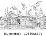 birds over istanbul   hand... | Shutterstock .eps vector #1055066876