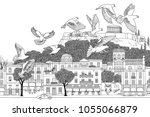 birds over athens   hand drawn... | Shutterstock .eps vector #1055066879