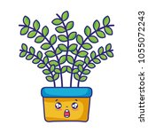kawaii scared plant with leaves ... | Shutterstock .eps vector #1055072243