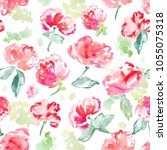girly  pink  painted watercolor ... | Shutterstock . vector #1055075318