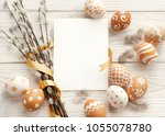 easter background with easter... | Shutterstock . vector #1055078780