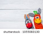 set of colorful kids toys frame.... | Shutterstock . vector #1055083130