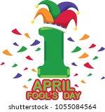 sign april fool's day festival. ... | Shutterstock .eps vector #1055084564