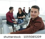 employee on the background of... | Shutterstock . vector #1055085209