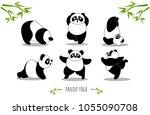 panda yoga  set of yoga poses ... | Shutterstock .eps vector #1055090708