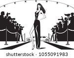 movie star posing to... | Shutterstock .eps vector #1055091983