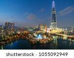 south korea skyline of seoul ...   Shutterstock . vector #1055092949