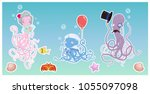funny octopus family in the... | Shutterstock .eps vector #1055097098
