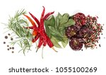 top view of  spices and herb    ... | Shutterstock . vector #1055100269