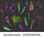 cartoon set of abstract... | Shutterstock .eps vector #1055100356