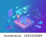 man holding cloud isometric...