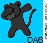 dab dabbing pose panther kid... | Shutterstock .eps vector #1055106650