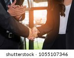 businesswoman and businessman...   Shutterstock . vector #1055107346