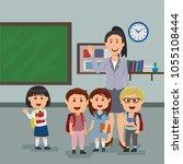teacher and pupils in the class ... | Shutterstock .eps vector #1055108444