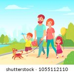 Stock vector happy young family father mother daughter and son walking in park with their dog cartoon 1055112110