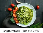 zucchini raw vegan pasta with... | Shutterstock . vector #1055117249
