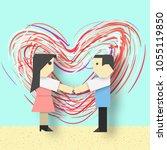 happy valentine's day card... | Shutterstock .eps vector #1055119850