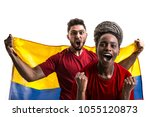 colombian fan celebrating | Shutterstock . vector #1055120873