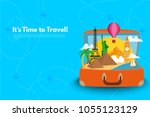 it s time to travel.trip to... | Shutterstock .eps vector #1055123129