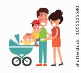 happy family with two children... | Shutterstock .eps vector #1055125580