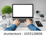 front view of woman hands... | Shutterstock . vector #1055128808