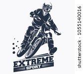 moto track or motocross jump... | Shutterstock .eps vector #1055140016